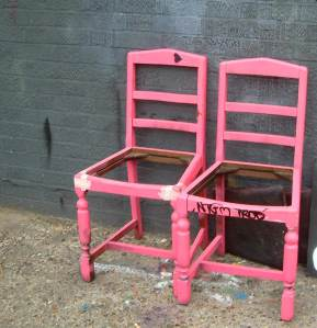The bones of those unloved pink chairs outside the front door
