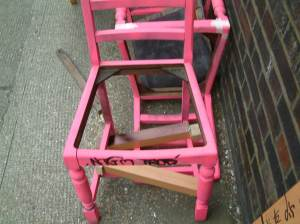 Found pink chairs, April 7th 2012
