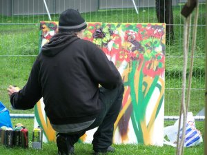 APPLE CART FESTIVAL - PAINTING IN THE RAIN
