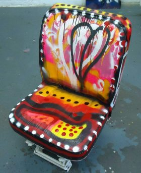 the painted taxi seat