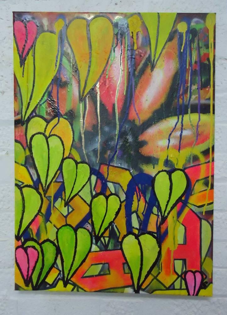 AA/AA - New layers (Feb 2014) - spray paint acrylic, marker pen on canvas, 60cm x 50cm