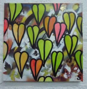 Feb 15th 2014 - New layers, new growth.    40cm x 40cm acrylic, spray paint, marker pen on canvas