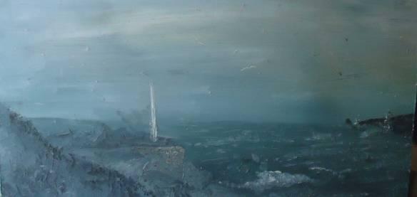Trearddur Bay (oil on board 62cm x 30cm)