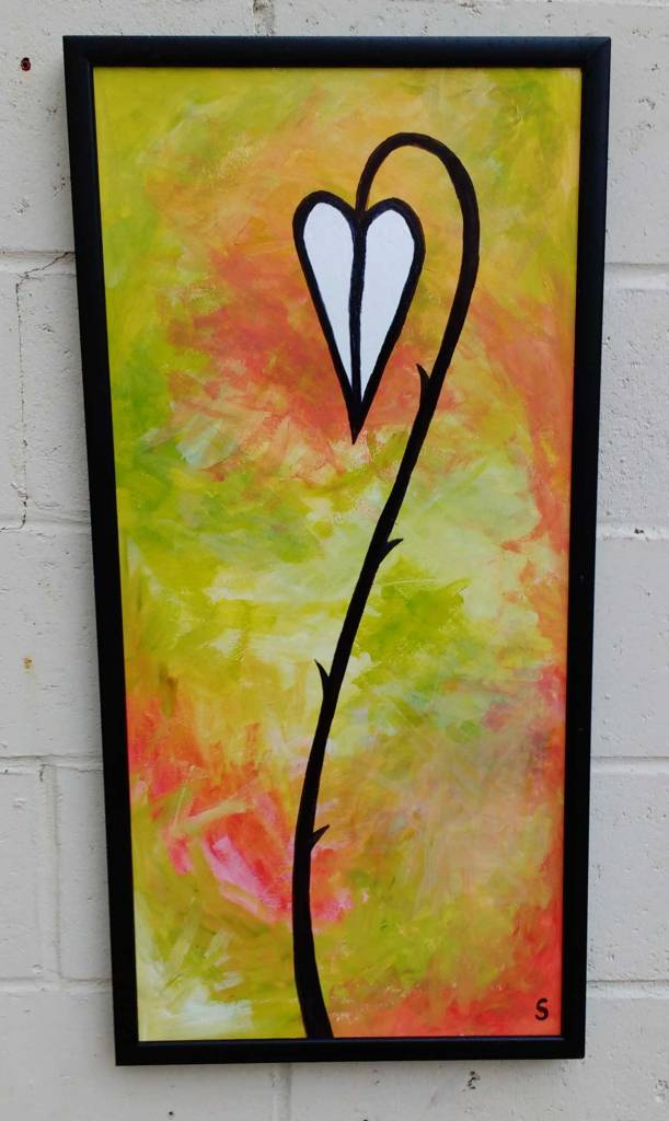 Sometimes They Have Thorns (Part 22) - Acrylic on hardboard, 45cm x 90cm in found frame. .