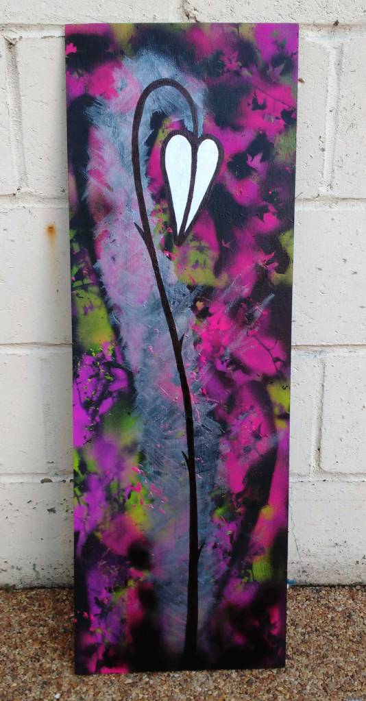 Sometimes They Have Thorns Part 18 - (32cm x 90cm, acrylic on recycled hardwood)