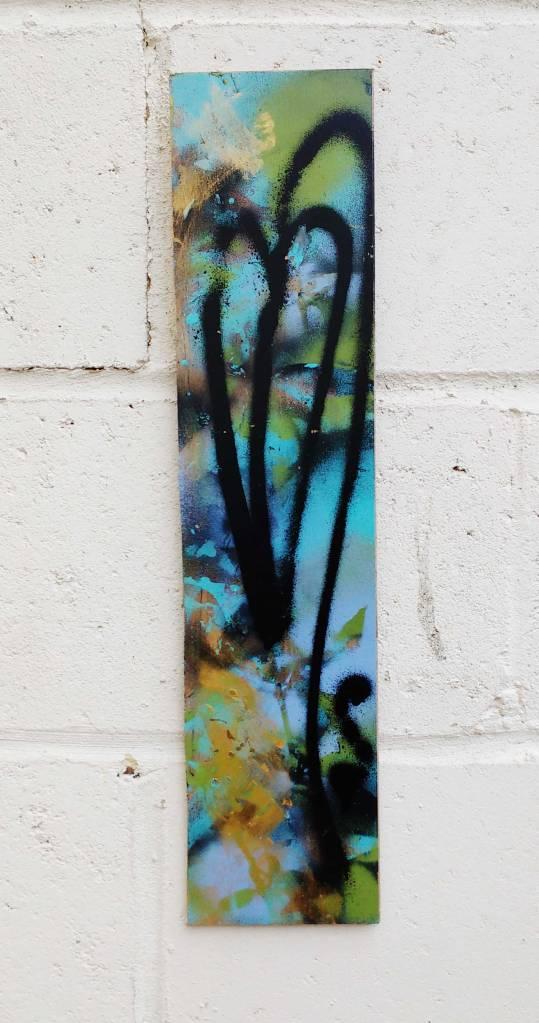 """Growth on a Floorboard"" Jan 1st 2017. Fresh leaf growth on a found unwanted hardwood floorboard. (Acrylic, spray paint on recycled hardwood, 53cmx12cm)"