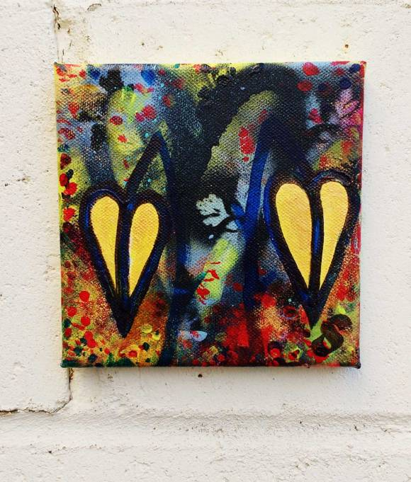 "18/365 ""Two leaves, Thorny Ones"" - The notion of a painting brought to a finished state every day of the year during 2017. Fresh leaf growth on a small square canvas. Acrylic, spray paint, brush work, marker pen, gold paint, varnish on canvas 15cm x 15cm x 1cm. The 18th painting of 2017."