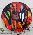 """56/365 - resh leaf growth and the notion of a painting brought to a finished state every day of the year during 2017. Fresh leaf growth on an unwanted recycled 12"""" vinyl Record - Acrylic, spray paint, brush work, marker pen, varnish  The 56th painting of 2017"""
