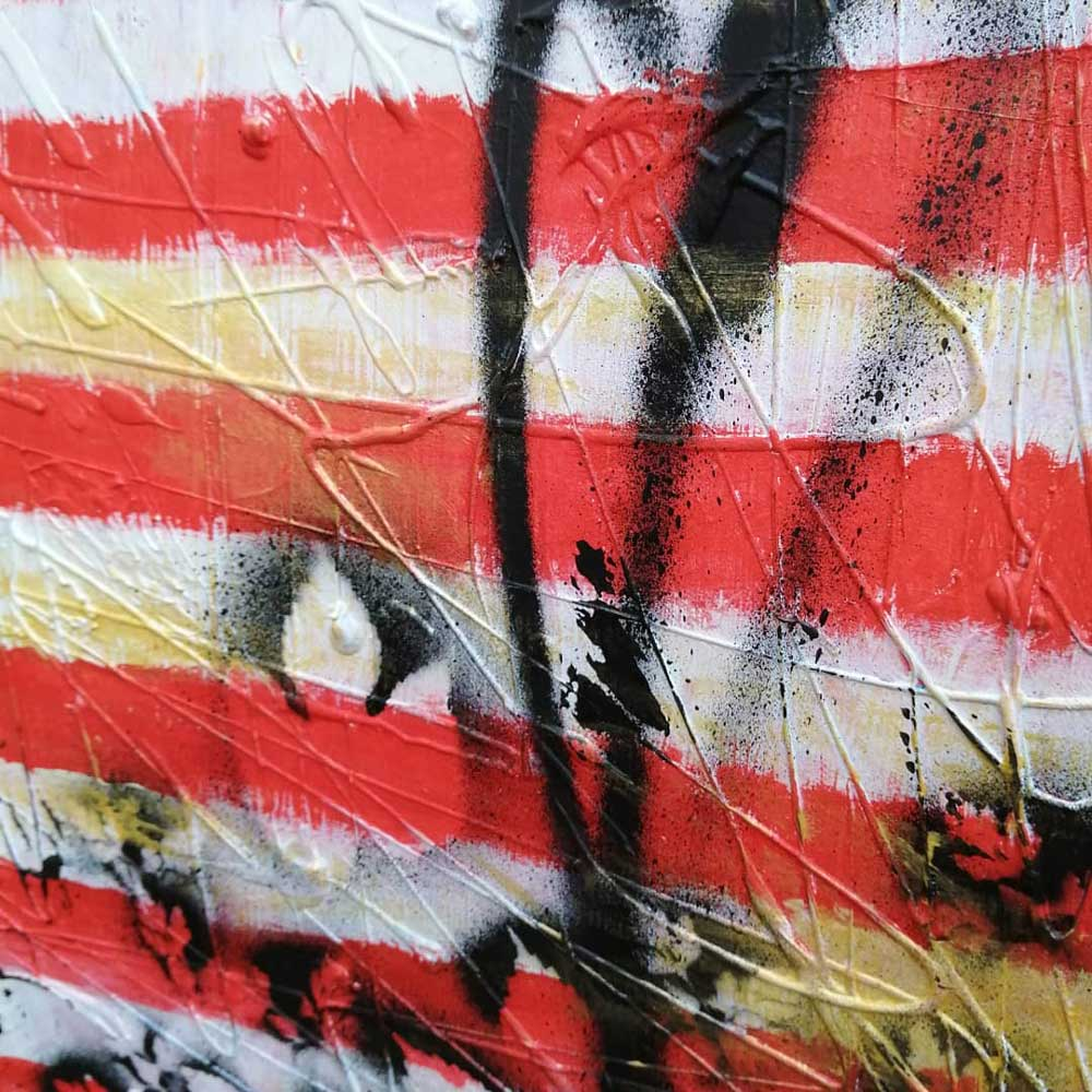 """Untitled - Stripes No15"" (8th November 2020) - Acrylic on found recycled canvas, 45x65cm (detail)"