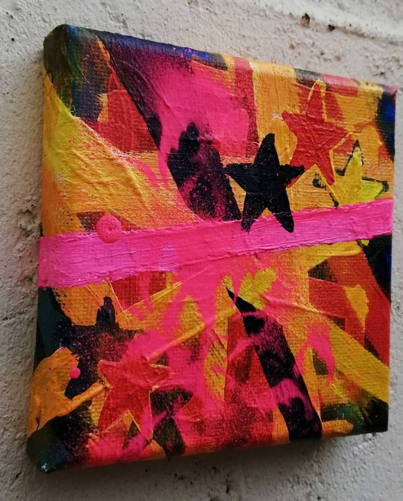 """""""Ten:109 (Solid Points)"""" - 28th October 2020 - Acrylic, gloss varnish on canvas 10x10x1cm"""