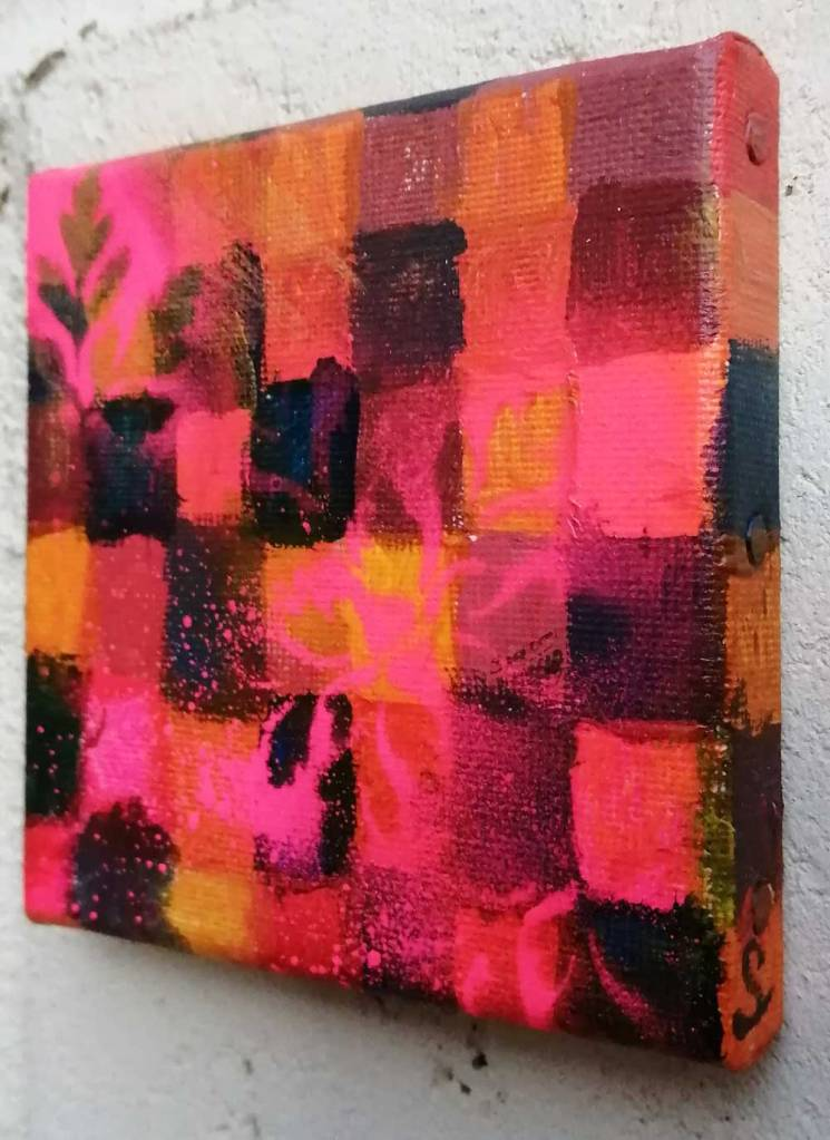 "Ten:110 (Herb Robert)"" - 29th October 2020 - Acrylic, gloss varnish on canvas 10x10x1cm"