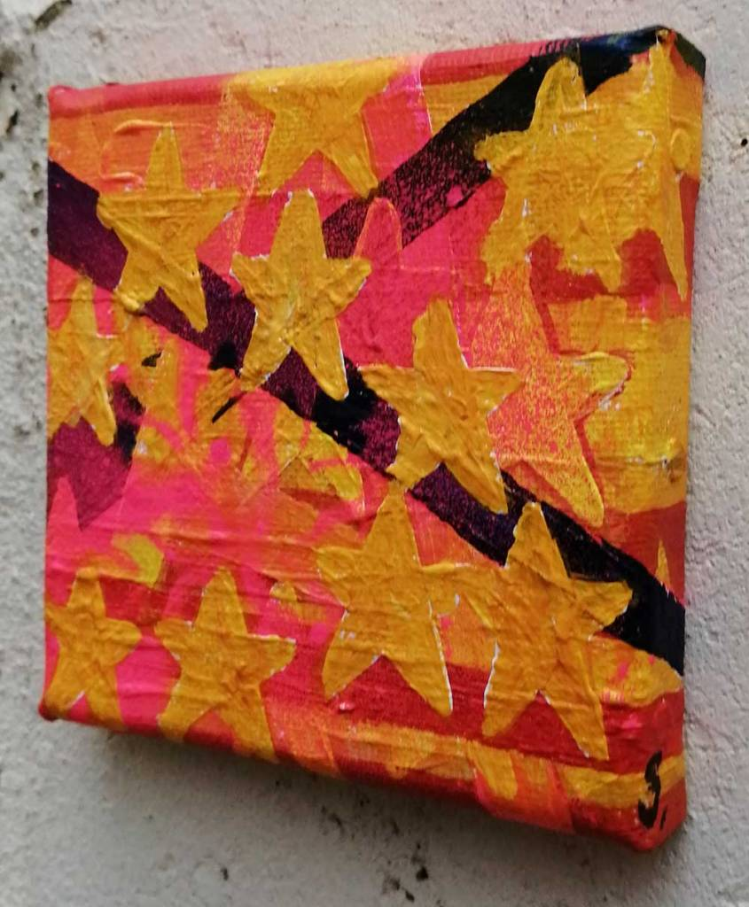 """""""Ten:111 (Back and Forth)"""" - 30th October 2020 - Acrylic, gloss varnish on canvas 10x10x1cm"""