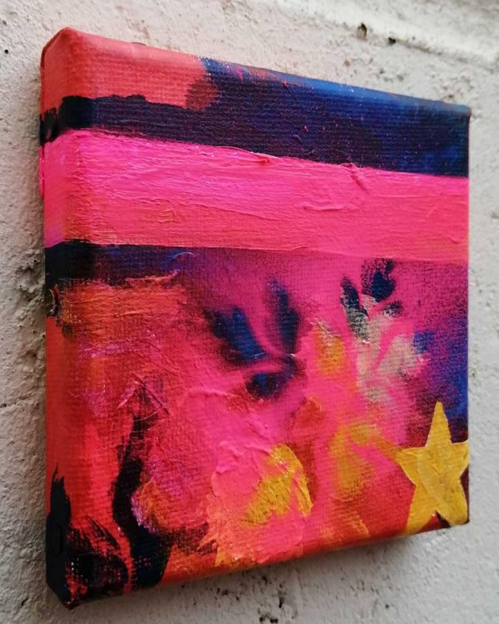 """""""Ten:113 (Ways Part)"""" - 1st November 2020 - Acrylic, gloss varnish on canvas 10x10x1cm"""